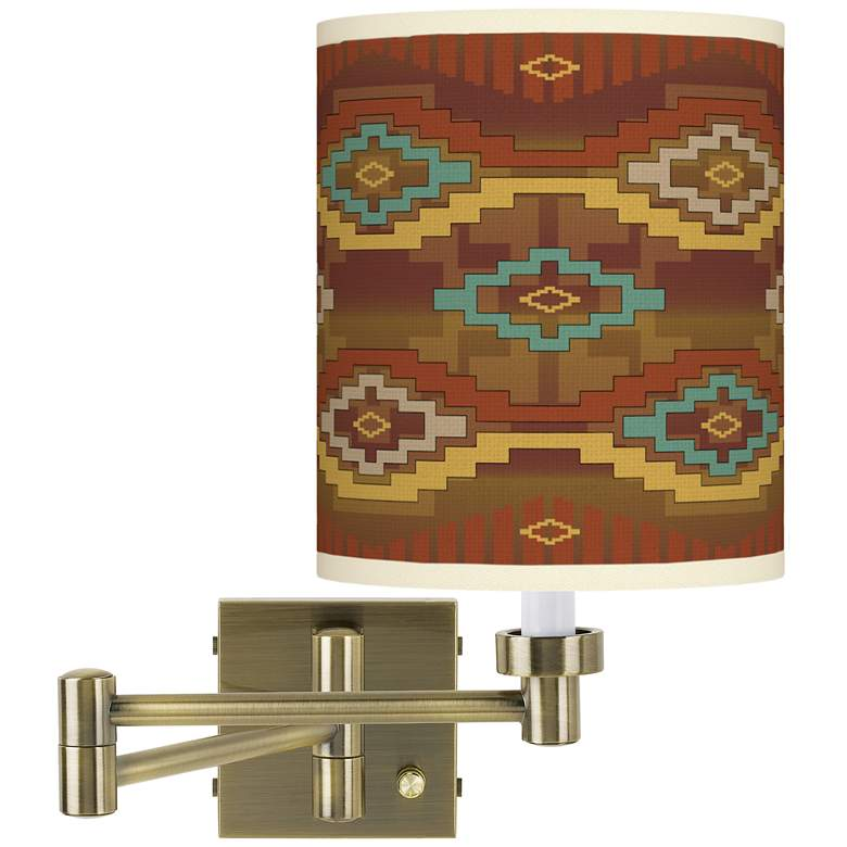 Southwest Sienna Antique Brass Swing Arm Wall Lamp