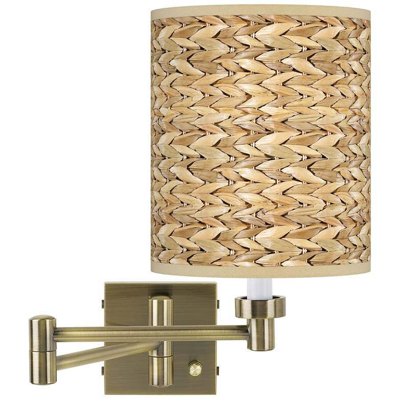 Seagrass Print Antique Brass Swing Arm Wall Lamp