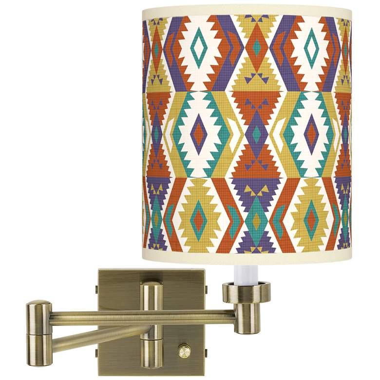 Southwest Bohemian Antique Brass Swing Arm Wall Lamp