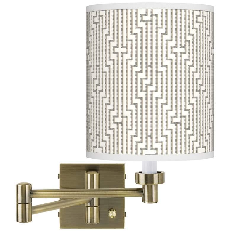 Diamond Maze Antique Brass Swing Arm Wall Lamp