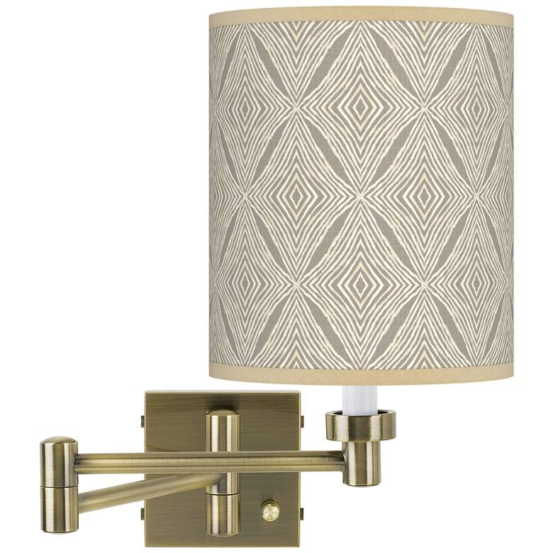 Moroccan Diamonds Antique Brass Swing Arm Wall Lamp