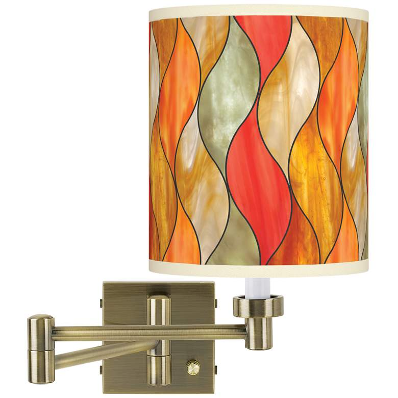 Flame Mosaic Antique Brass Swing Arm Wall Lamp