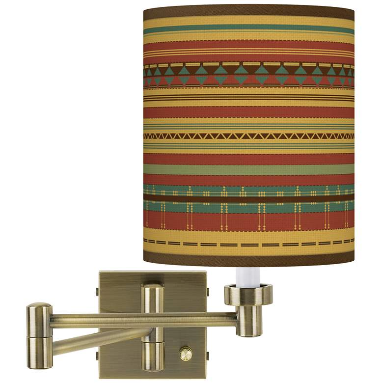 Southwest Desert Antique Brass Swing Arm Wall Lamp