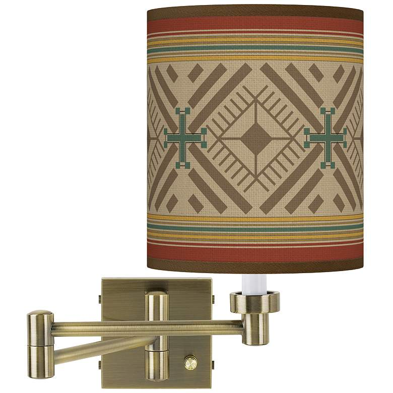 Desert Diamonds Antique Brass Swing Arm Wall Lamp
