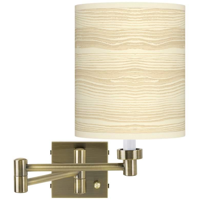 Birch Blonde Antique Brass Swing Arm Wall Lamp