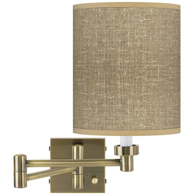 Burlap Print Antique Brass Swing Arm Wall Lamp
