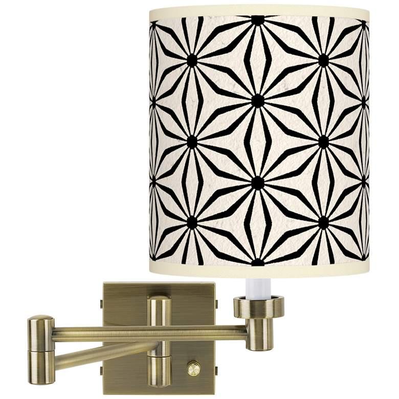 Kaleidoscope Flowers Antique Brass Swing Arm Wall Lamp