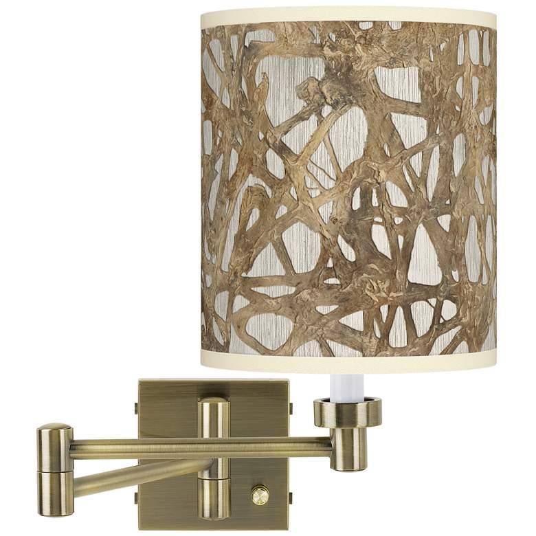 Organic Nest Antique Brass Swing Arm Wall Lamp