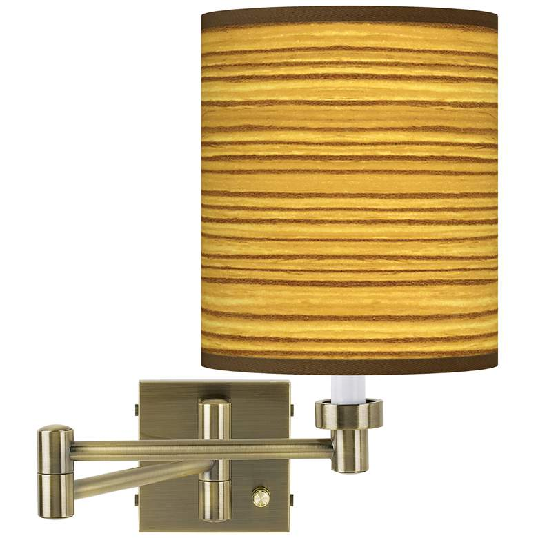 Tawny Zebrawood Antique Brass Swing Arm Wall Lamp