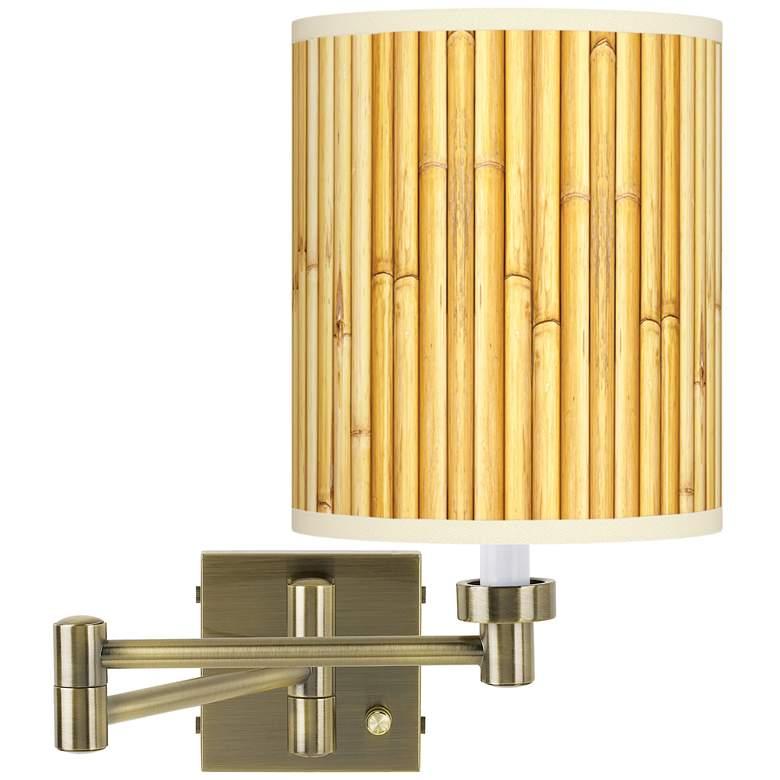 Bamboo Mat Antique Brass Swing Arm Wall Lamp