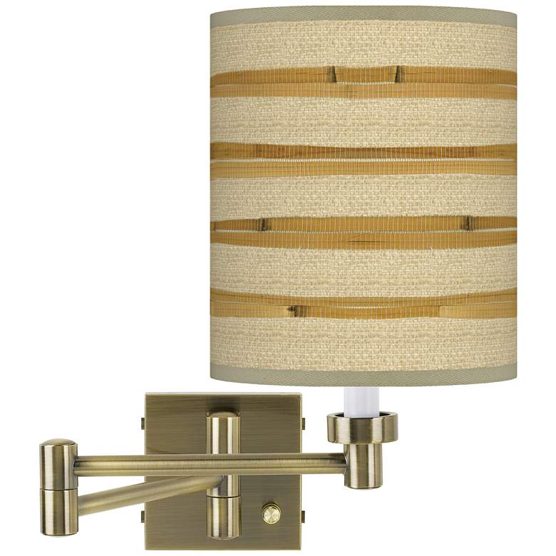 Bamboo Wrap Antique Brass Swing Arm Wall Lamp