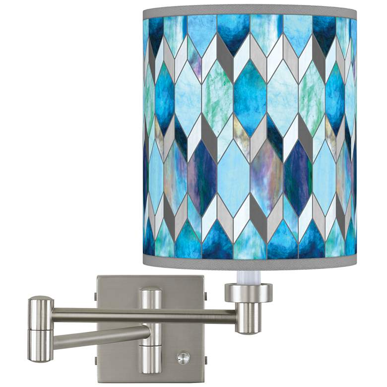 Blue Tiffany-Style Brushed Nickel Swing Arm Wall Lamp