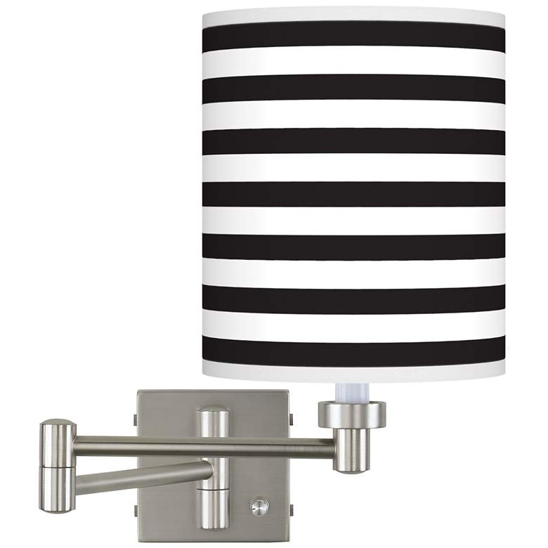 Black Horizontal Stripe Brushed Nickel Swing Arm Wall Lamp