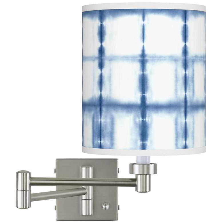 Blue Mist Brushed Nickel Swing Arm Wall Lamp