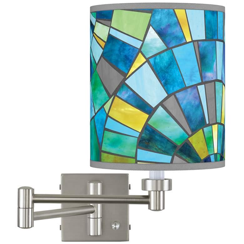 Lagos Mosaic Brushed Nickel Swing Arm Wall Lamp