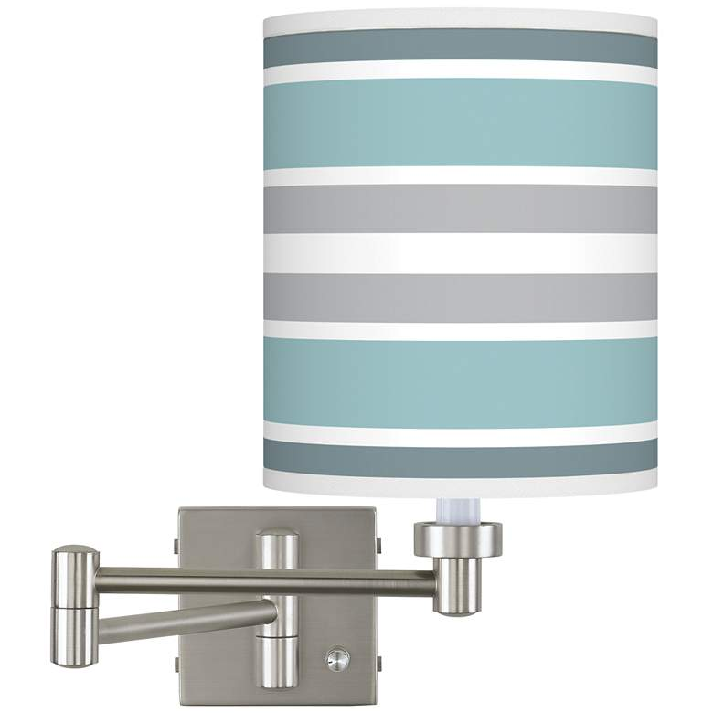 Multi Color Stripes Brushed Nickel Swing Arm Wall Lamp