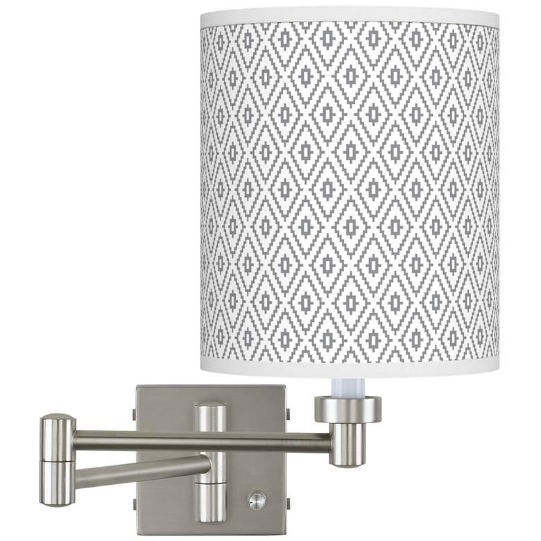 Diamonds Brushed Nickel Swing Arm Wall Lamp