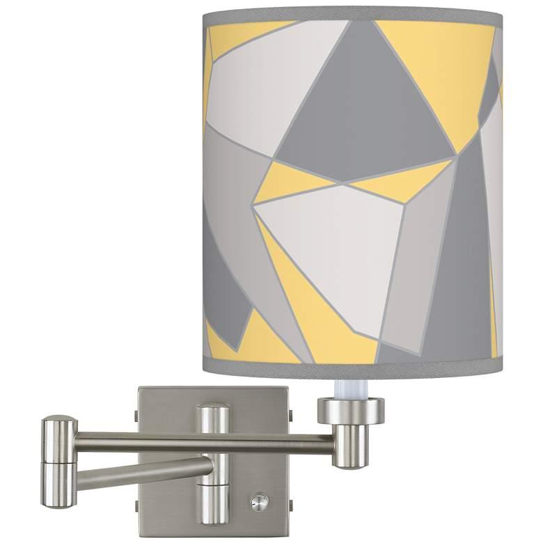 Modern Mosaic II Brushed Nickel Swing Arm Wall Lamp