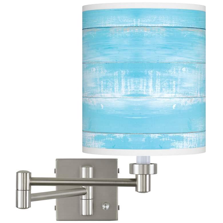 Barnyard Blue Brushed Nickel Swing Arm Wall Lamp