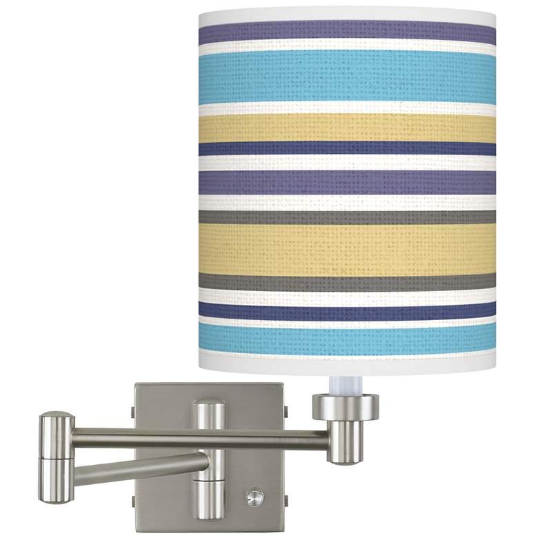 Laguna Stripes Brushed Nickel Swing Arm Wall Lamp