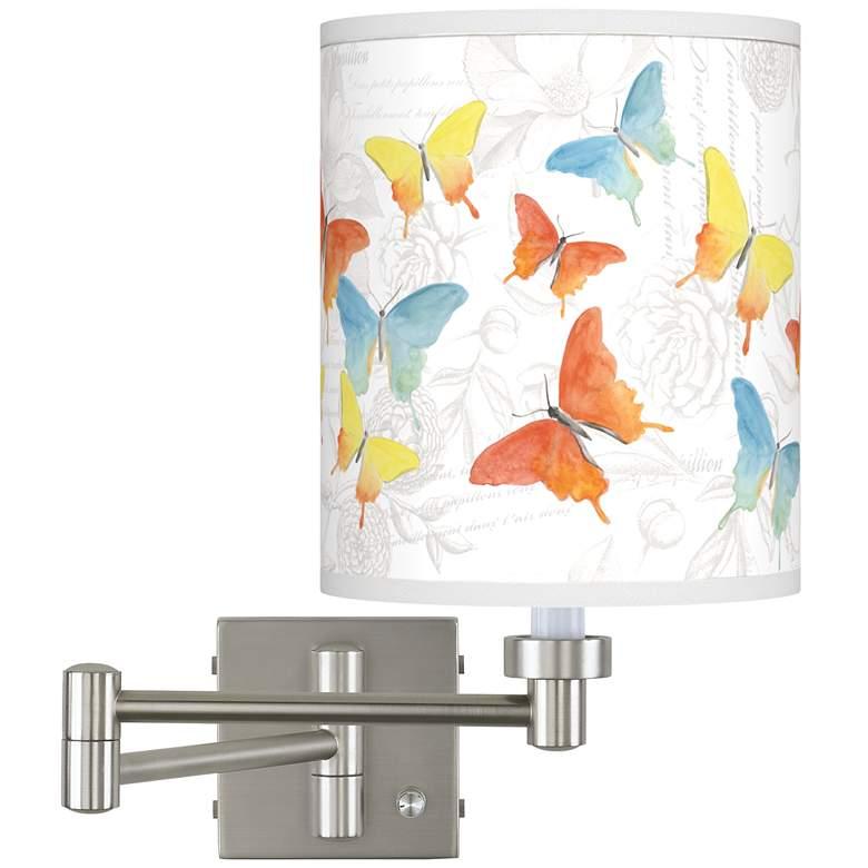 Pastel Butterflies Brushed Nickel Swing Arm Wall Lamp