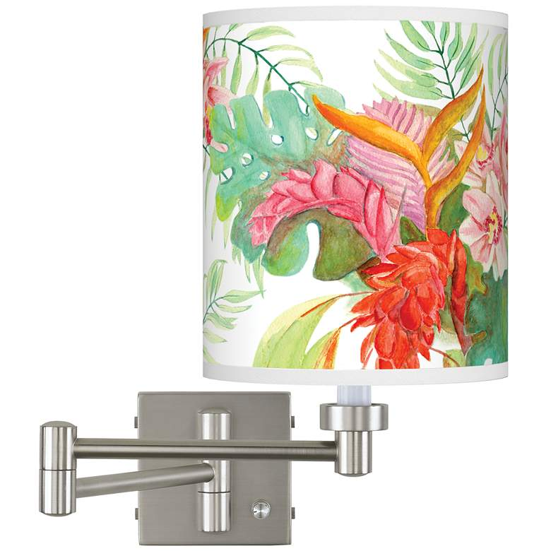 Island Floral Brushed Nickel Swing Arm Wall Lamp