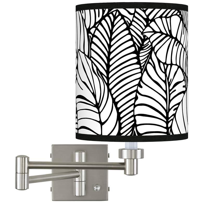 Tropical Leaves Brushed Nickel Swing Arm Wall Lamp