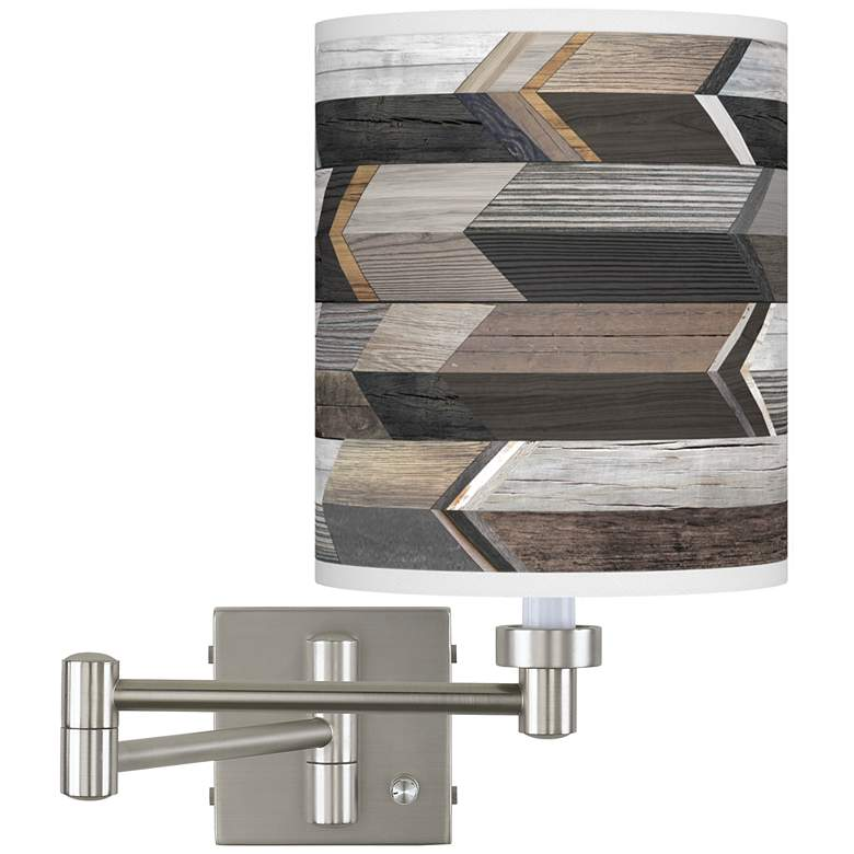 Woodwork Arrows Brushed Nickel Swing Arm Wall Lamp
