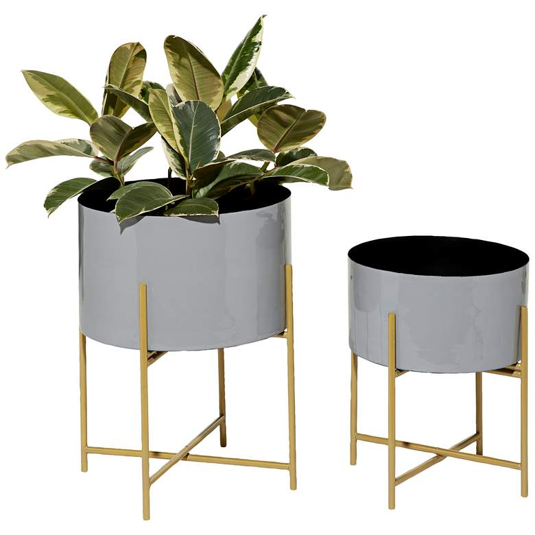 Gray and Gold Metal Enamel Planters Set of 2