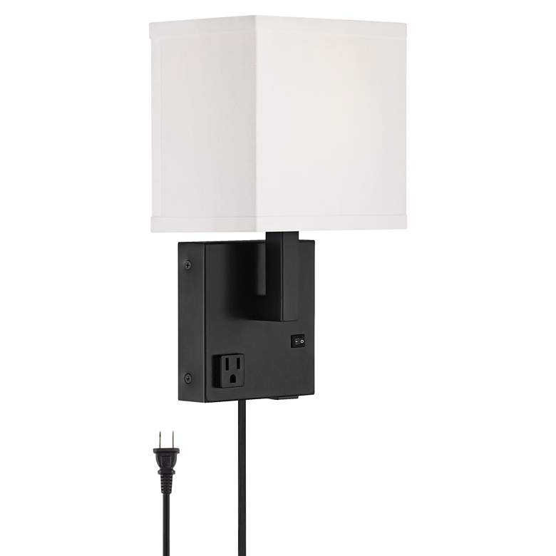 Astor Black Plug-In Wall Light with USB Port and Outlet
