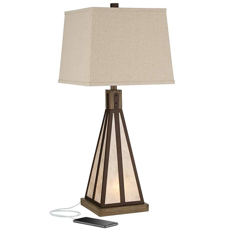 Suzy Bronze and Mica Night Light Table Lamp with USB Port