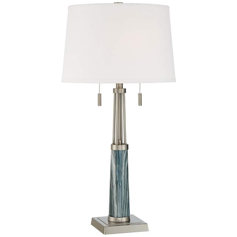 Possini Euro Lara Blue Marble Brushed Nickel Table Lamp