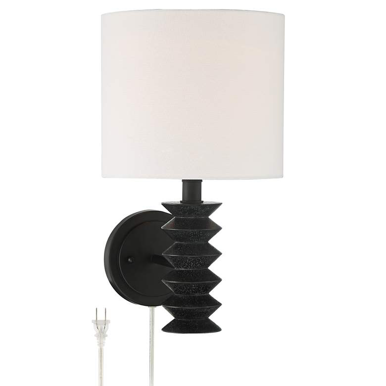 Bamba Plug-In Modern Wall Lamp in Black Gray Wash Finish