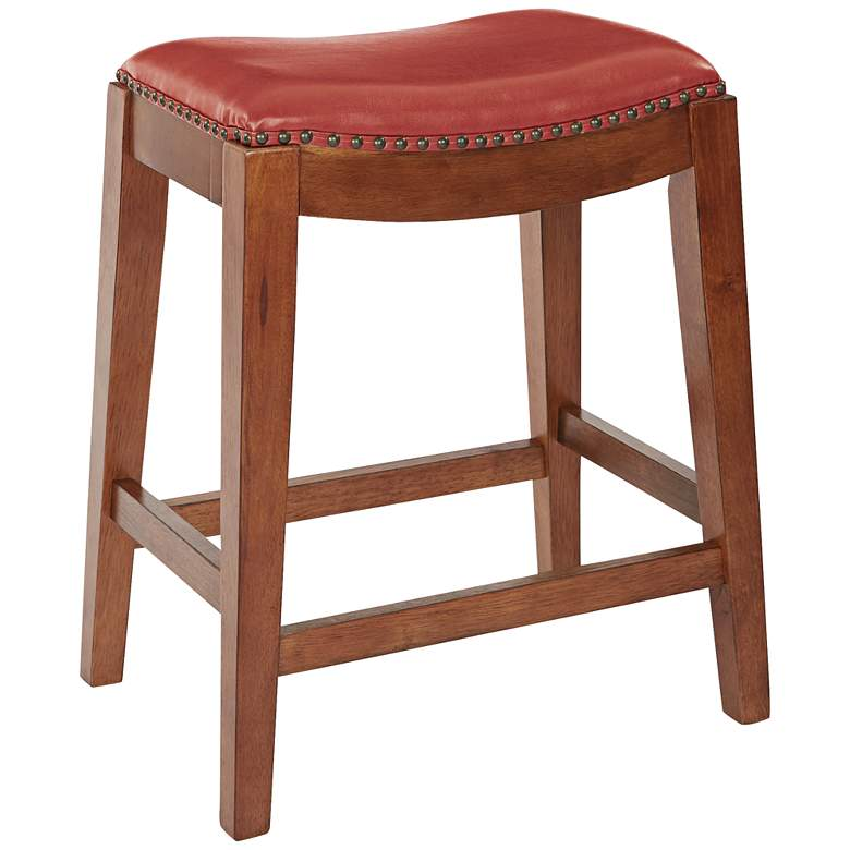 "Metro 24 1/2"" Cranberry Bonded Leather Saddle Counter Stool"