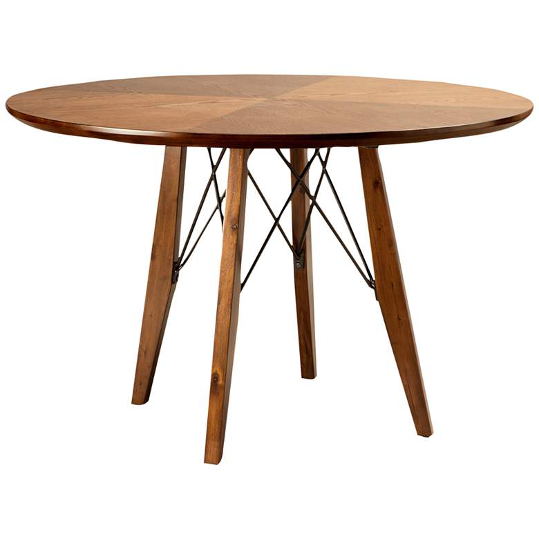 """Clark 44 1/4"""" Wide Pecan Wood Round Dining/Pub Table"""