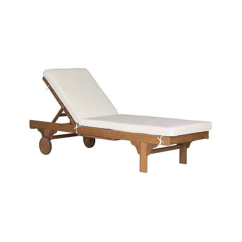 Safavieh Newport Teak Brown Eucalyptus Wood Beige Lounge Chair