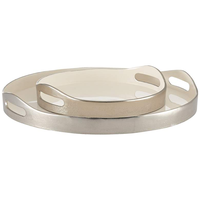 Currey and Company Riya White and Silver Trays Set of 2