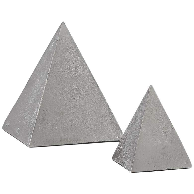 Mandir Black Nickel Metal Pyramid Sculptures Set of 2