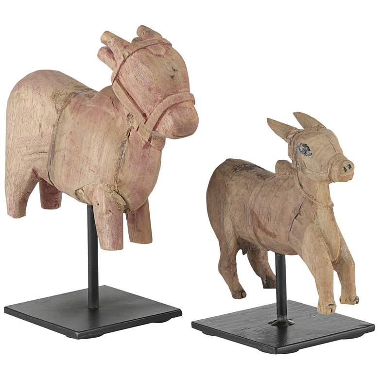 Nandi Natural Wood and Black Metal Cow Sculptures Set of 2
