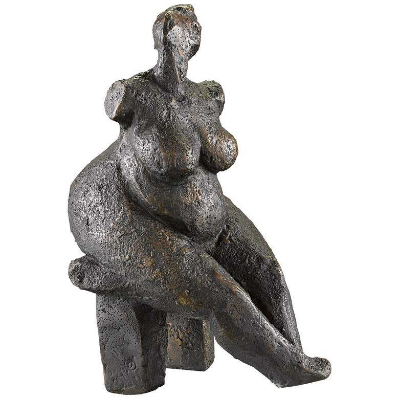 """Currey and Company Lady Dreaming 14 1/4""""H Bronze Sculpture"""