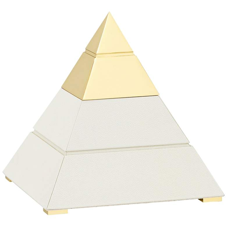 """Mastaba 9 1/4""""H White and Polished Brass Pyramid Sculpture"""