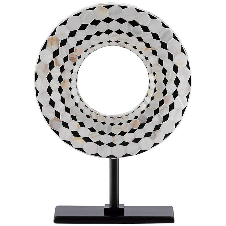 "Currey and Company Rondelle 14""H Black Pearl Disc Sculpture"