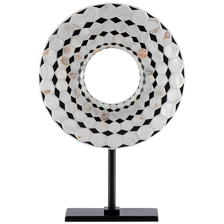 "Currey and Company Rondelle 18""H Black Pearl Disc Sculpture"