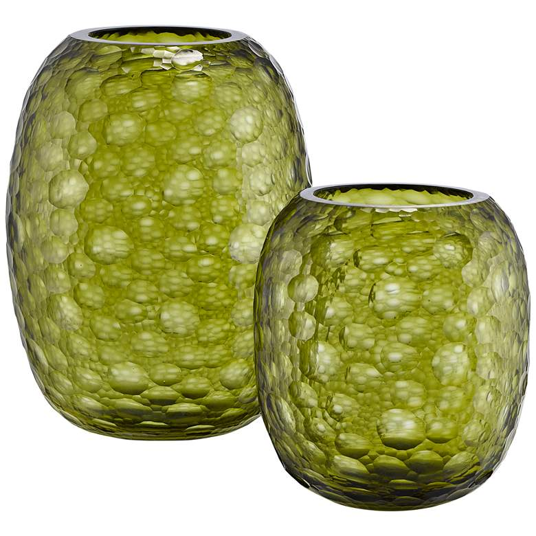 Currey and Company Wintergreen Olive Glass Vases Set of 2