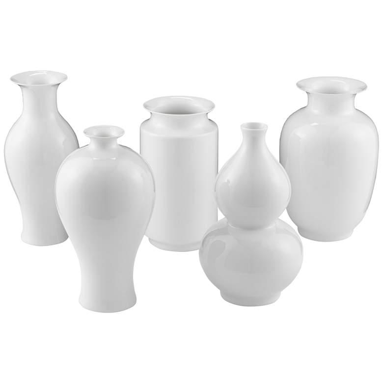 "Imperial White 9 1/4""H Porcelain Decorative Vases Set of 5"