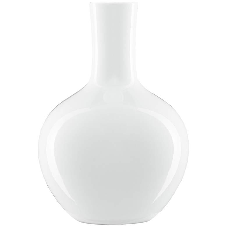 "Imperial White 12 3/4"" High Gourd Porcelain Decorative Vase"