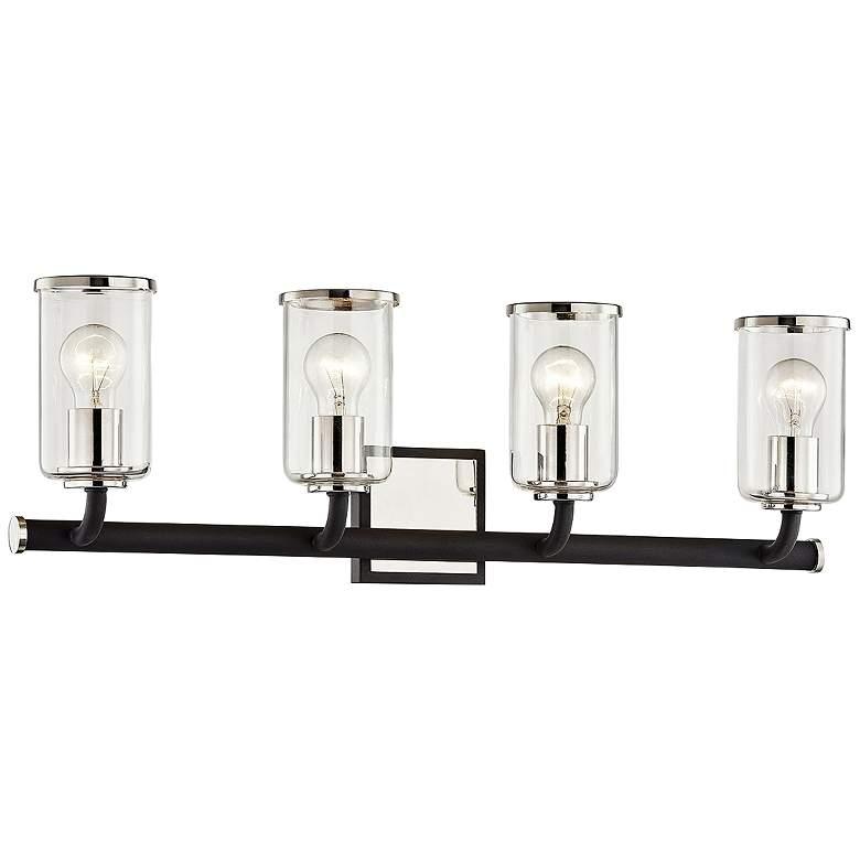 "Aeon 28"" Wide Carbide Black and Nickel 4-Light Bath Light"