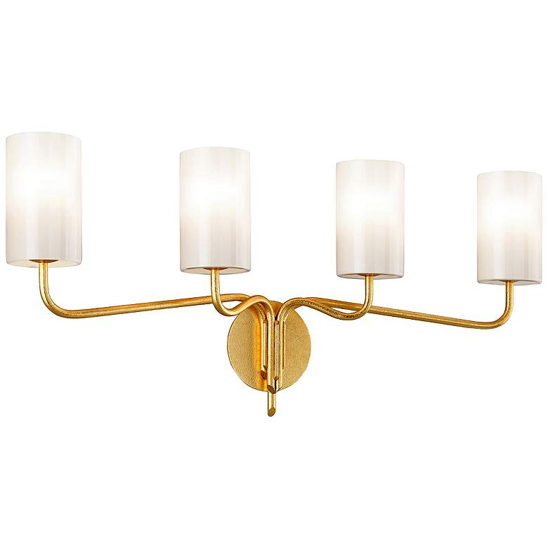 "Juniper 34"" Wide Textured Gold Leaf 4-Light Bath Light"