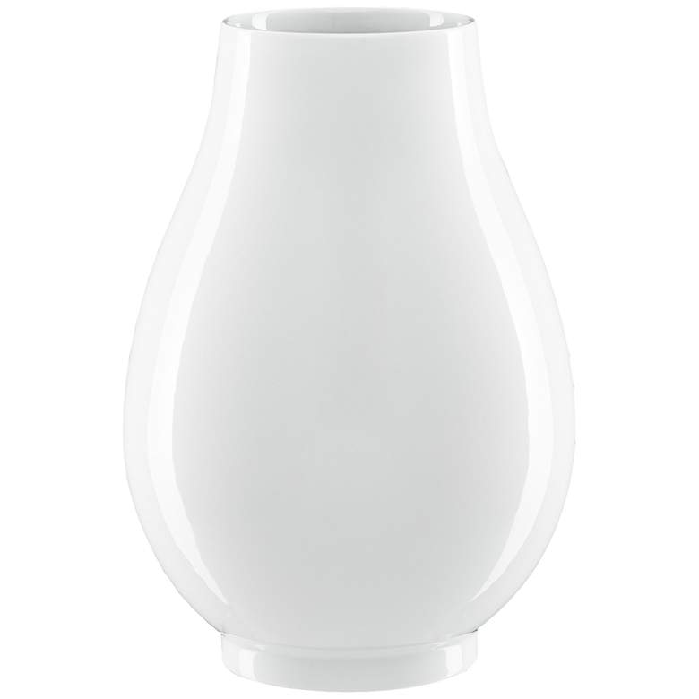 "Imperial White 15"" High Round Porcelain Decorative Vase"