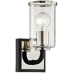 """Aeon 9"""" High Carbide Black and Polished Nickel Wall Sconce"""